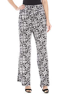 New Directions® Full Length Medallion Print Palazzo Pants