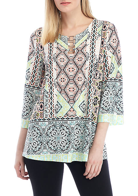 Printed Split Neck with Hardware Top