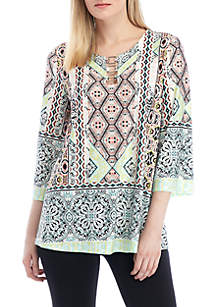 New Directions® Printed Split Neck with Hardware Top
