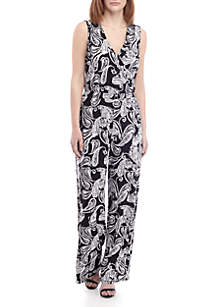 New Directions® Sleeveless Paisley Surplice Jumpsuit