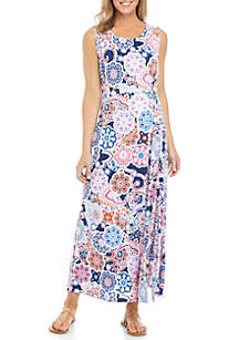 New Directions® Sleeveless Knot Front Printed Maxi Dress
