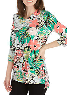 New Directions® 3/4 Sleeve Printed ITY Tunic with Grommet Tie Up