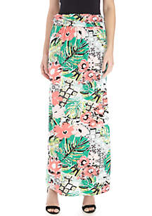 New Directions® Ruched Waistband Palm Print Maxi Skirt