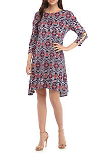 New Directions® Medallion ITY Print Sleeve Hardware Dress