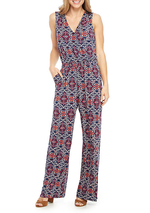 Sleeveless Printed Surplice Jumpsuit