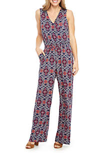 3f9193b13ba ... New Directions® Sleeveless Printed Surplice Jumpsuit