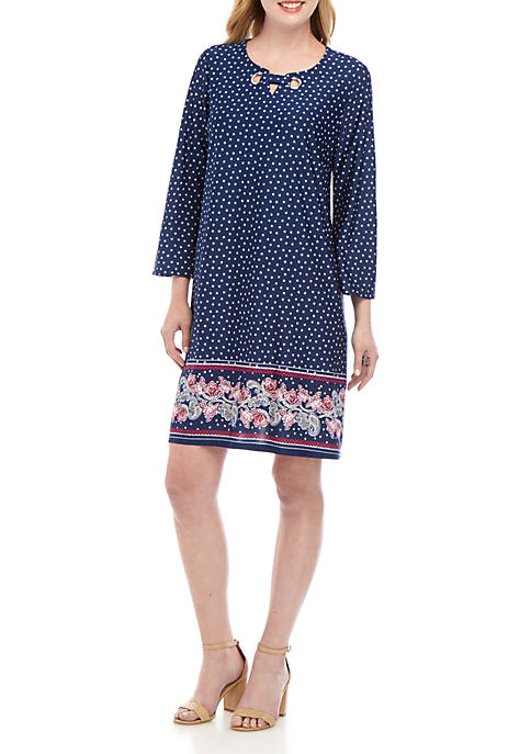 New Directions® 3/4 Sleeve ITY Border Print Dress