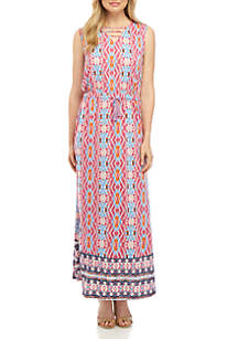 898bef2243 ... New Directions® Sleeveless Cinched Waist Printed Maxi Dress