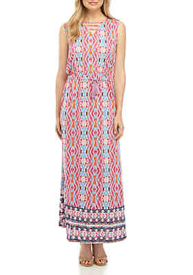 f0b223d12a8 New Directions® Sleeveless Cinched Waist Printed Maxi Dress ...