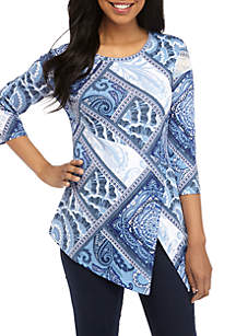 New Directions® 3/4 Sleeve Printed Mesh Shoulder Top