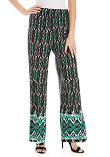 New Directions® Ikat Border Print Palazzo Pants