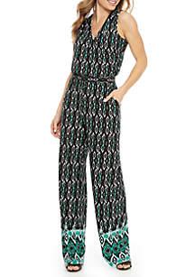 9795e6f30149 ... New Directions® Sleeveless Ikat Border Print Surplice Jumpsuit