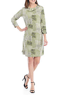 New Directions® 3/4 Ruched Sleeve Patchwork Grommet Neck Dress