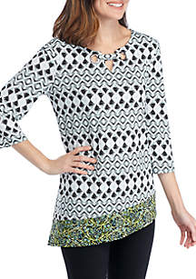 New Directions® 3/4 Sleeve Asymmetric Hem Ikat Grommet Top