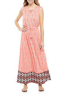ee700a63bf3 ... New Directions® Sleeveless Cinched Waist Printed Maxi Dress