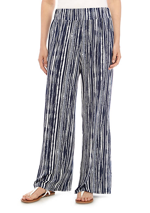 New Directions® ITY Full Length Striped Palazzo Pants