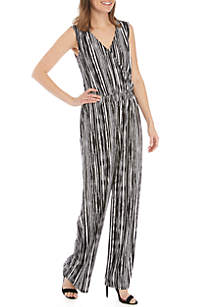 a69eb069f3e ... New Directions® Sleeveless Striped Surplice Jumpsuit