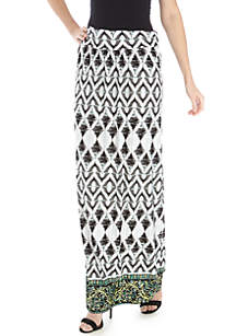 New Directions® Ruched Waistband ITY Geo Border Maxi Skirt