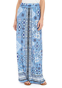 New Directions® Ruched Waistband ITY Paisley  Maxi Skirt