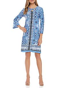 New Directions® 3/4 Sleeve ITY Border Print Dress