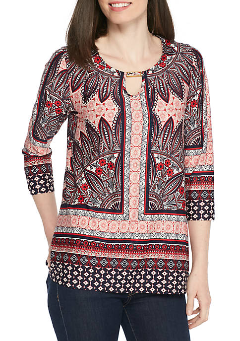 New Directions® Three-Quarter Sleeve Hardware Neck Print Top