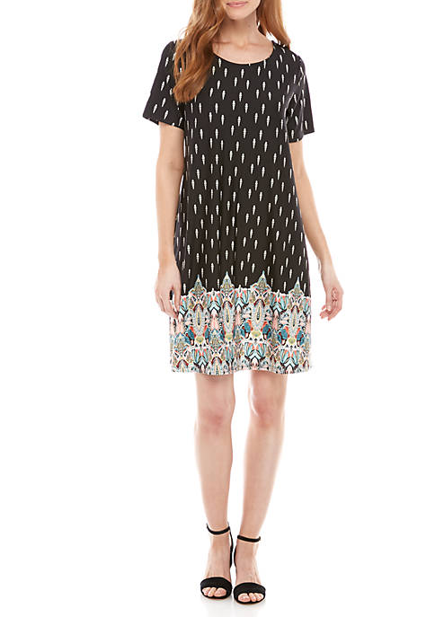 New Directions® Short Sleeve Print ITY Swing Dress