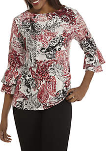 Three-Quarter Double Bell Sleeves Paisley Knit Top