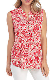 New Directions® Sleeveless Puff Print Henley Top