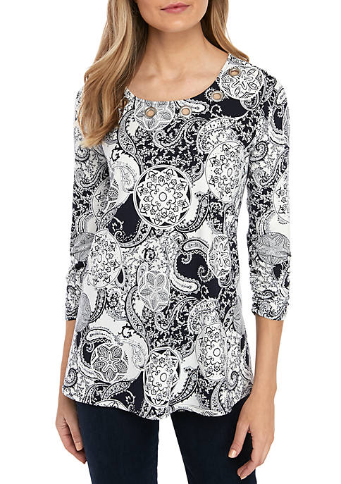 New Directions® 3/4 Cinched Sleeve Printed Swing Top