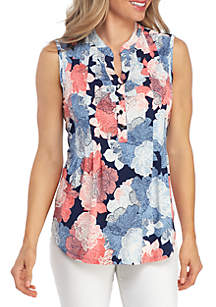 New Directions® Sleeveless Floral Henley Top
