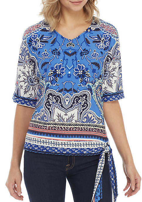New Directions® Short Sleeve V-Neck Puff Print with