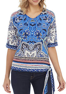 Short Sleeve V-Neck Puff Print with Side Tie Top