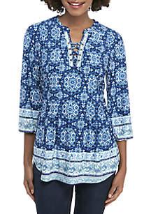 New Directions® 3/4 Sleeve Grommet Neck Print Top