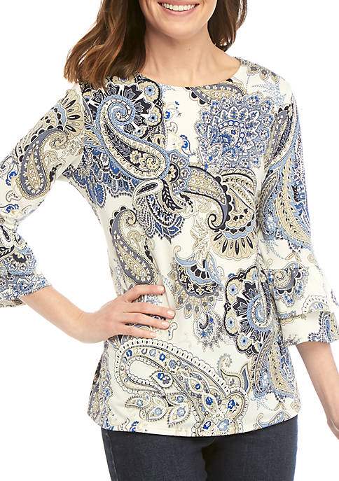 New Directions® 3/4 Sleeve Double Bell Paisley Puff