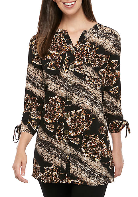 New Directions® Womens 3/4 Sleeve Floral Skin Cinch