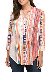 00bf253e ... New Directions® Knit High Low 3/4 Sleeve Tribal Stripe Henley Shirt