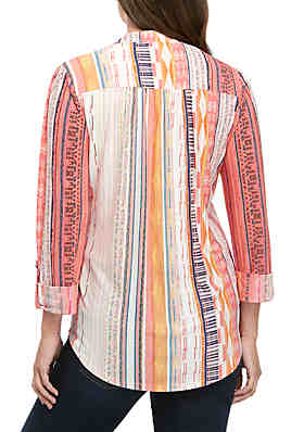 af429f7f77b16 ... New Directions® Knit High Low 3/4 Sleeve Tribal Stripe Henley Shirt
