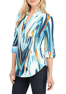 New Directions® 3/4 Sleeve Coral Swirl Top