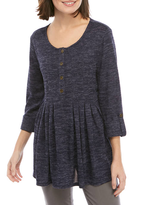 New Directions® Womens 3/4 Sleeve Henley Sweatshirt