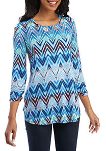 New Directions® 3/4 Ruched Sleeve Grommet Swing Chevron Top