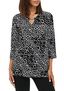 Three-Quarter Sleeve Allover Dot Circle Print Top