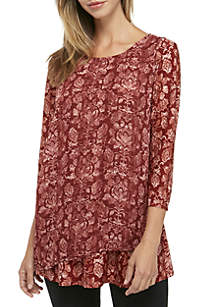 3/4 Sleeve Crossover Printed Tunic