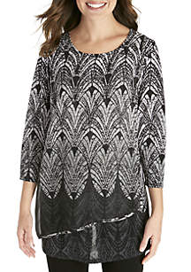 New Directions® Crossover Woven Knit Top