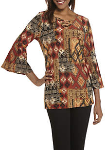 Three-Quarter Sleeve Patchwork Print Top with Faux Tie-Up