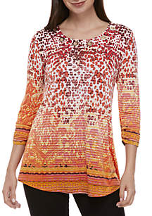 New Directions® Long Sleeve Ruffle Front Top · New Directions® Grommet Neck Swing Top