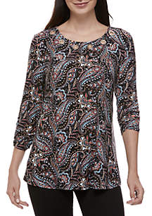 New Directions® 3/4 Ruched Sleeve Grommet Top