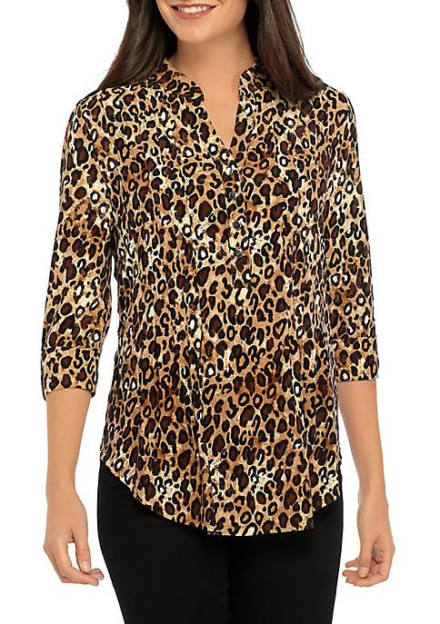 Womens Printed Henley Top
