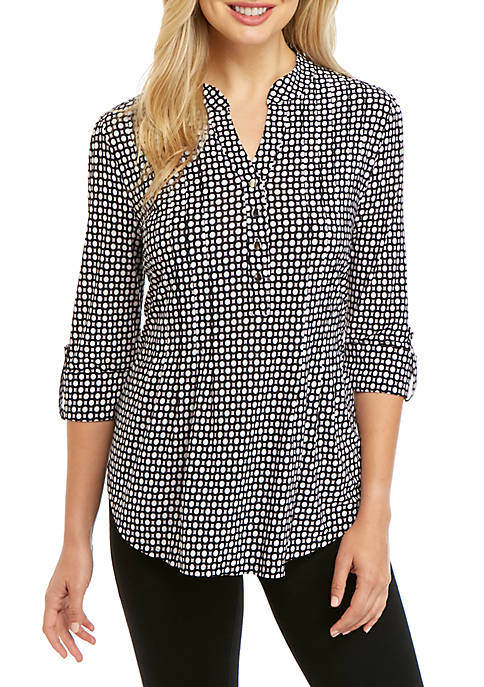 Womens Printed Knit Henley Top
