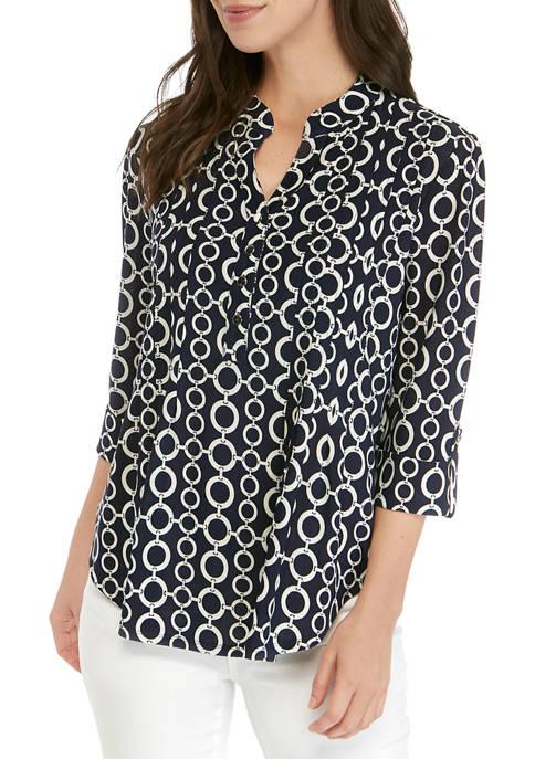 Womens 3/4 Roll Tab Sleeve Printed Henley Shirt