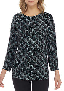 New Directions® Lace-Up Raglan Sleeve Print Top